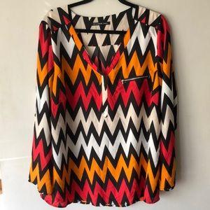 Zac & Rachel Womens plus size 2X chevron blouse